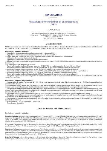 Réunion assemblée générale mixte - touax group