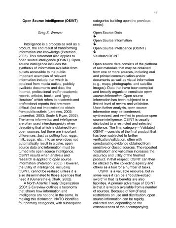 Open Source Intelligence (OSINT) Greg S. Weaver - Futures ...