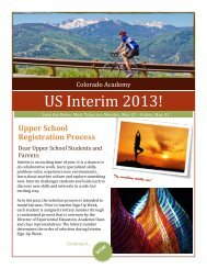 Upper School Interim Catalog - Colorado Academy
