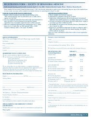REGISTRATION FORM SOCIETY OF BEHAVIORAL MEDICINE
