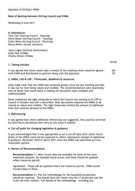 HNDA Minutes of CHMA Council Meeting Re ... - Stirling Council