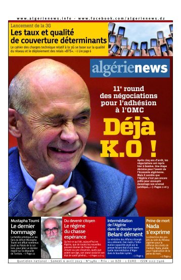 Fr-06-04-2013 - Algérie news quotidien national d'information