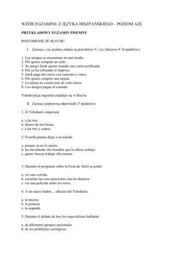 wzór egzaminu z języka hiszpańskiego – poziom a2e - SJO PWr