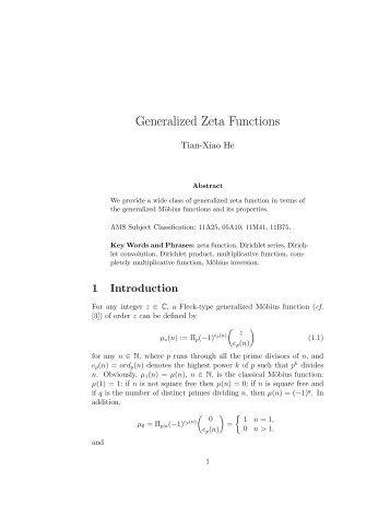 Generalized Zeta Functions