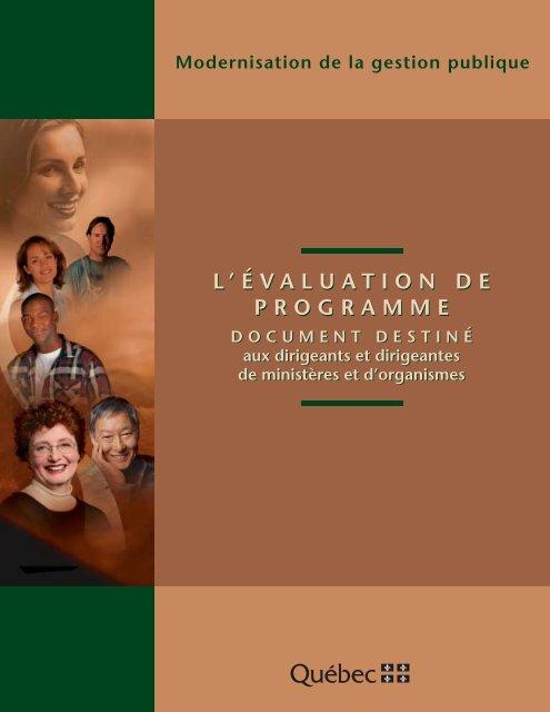 L'évaluation de programme - Secrétariat du conseil du trésor ...