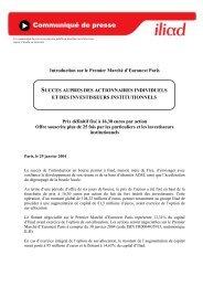 Introduction au 1er marché d'Euronext Paris - Iliad