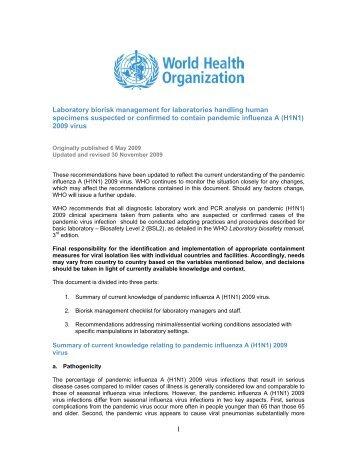 1 Laboratory biorisk management for laboratories handling human ...