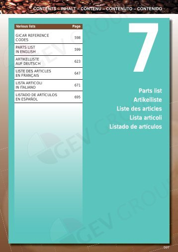 Parts list Artikelliste Liste des articles Lista articoli Listado de ... - GEV