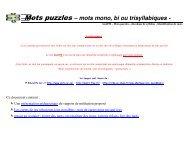 Mots puzzles – mots mono, bi ou trisyllabiques - - Instit90 - Free