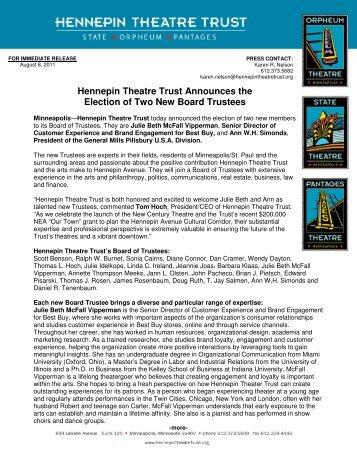 Hennepin Theatre Trust New Board Members