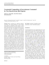 Carotenoid Composition of Invertebrates Consumed by Two ...