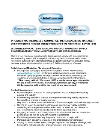 Product Marketing and Merchandising Manager - ActiveForever