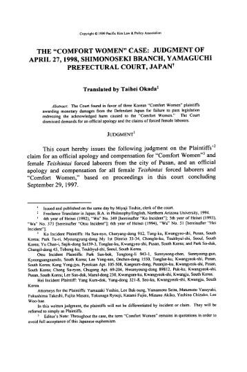 Comfort Women Case: Judgment of April 27, 1998, Shimonoseki ...