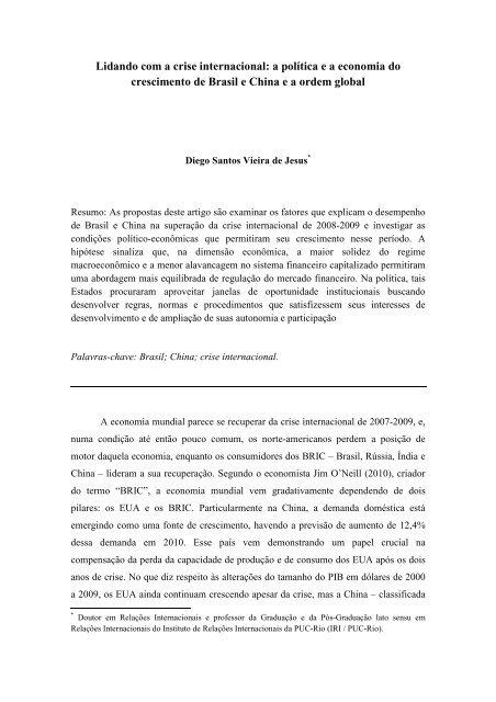 Lidando com a crise internacional - SciELO Proceedings