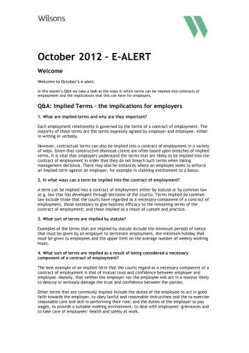 October 2012 – E-ALERT - Wilsons