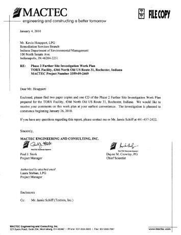 Phase II - Work Plan - Torx Remediation Project