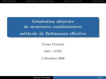 Génération aléatoire de structures combinatoires: [6pt] méthode de ...