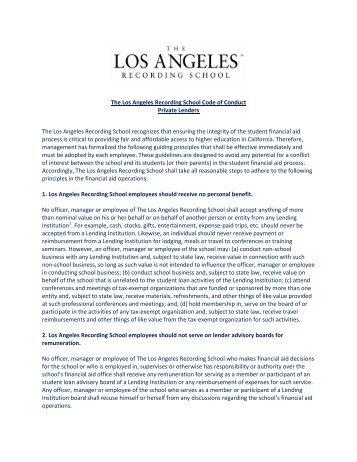 The Los Angeles Recording School Code of Conduct - Media Server ...