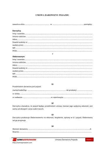 Umowa Darowizny Pojazdu - Sam naprawiam