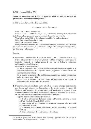 Norme di attuazione del D.P.R. 12 febbraio 1965, n. 162, in ... - Ismea