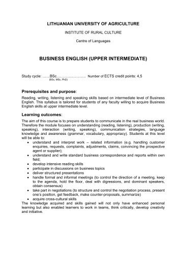 Business English (upper intermediate)