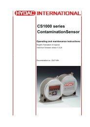 CS1000 series ContaminationSensor Operating and ... - HYDAC USA