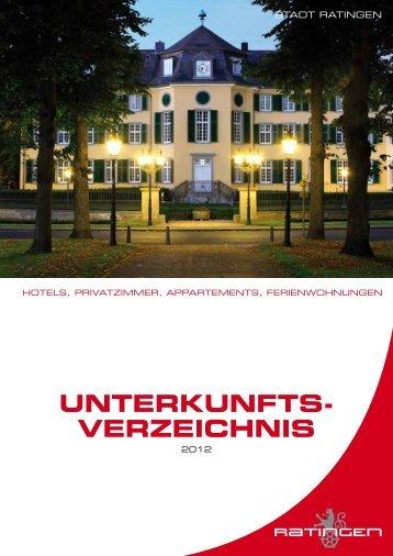 UNTERKUNFTS- VERZEICHNIS - Stadt Ratingen