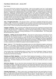 Head Master's Monthly Letter – January 2013 Dear Parents The ...