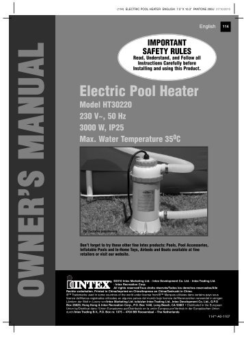 Download Intex 3kw Electric Heater User Manual ... - UK Pool Store