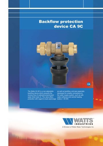 Backflow protection device CA 9C - WATTS industries