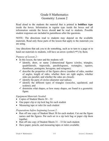 Grade 8 Mathematics Geometry: Lesson 2