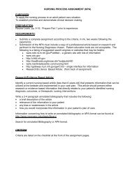 NURSING PROCESS ASSIGNMENT (NPA) - Monroe Community ...
