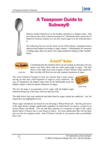 A Teaspoon Guide to Subway