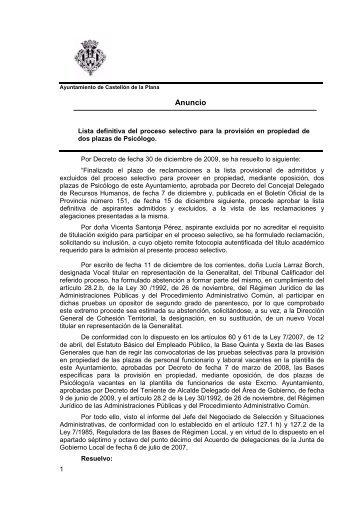 anuncio bop lista definitiva psicólogo - Ayuntamiento de Castellón