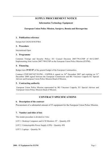 2008 - IT Procurement notice - European Union police Mission in B&H