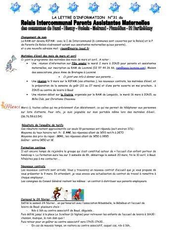 LA LETTRE D'INFORMATION N°31 du - Mairie de Baud