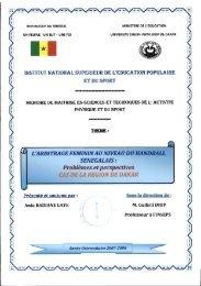 L'arbitrage féminin au niveau du handball sénégalais ... - BEEP