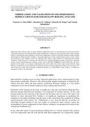 verification and validation of one dimensional models used in ...