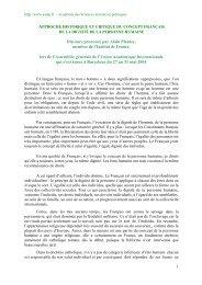 Approche historique et critique du concept français de la dignité de ...