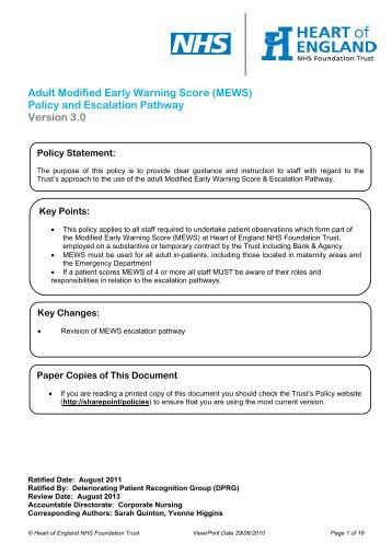 1 Early Warning Score (EWS) Management Protocol