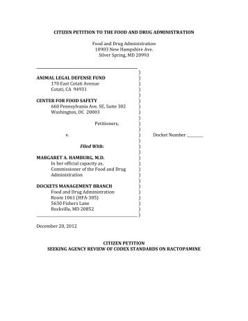 petitioned FDA - Center for Food Safety