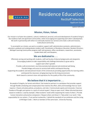 Residence Education - University Housing - University of Michigan