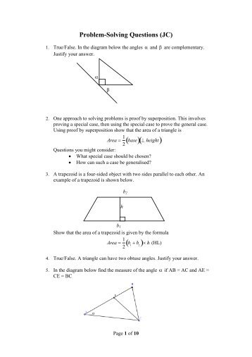 Problem Solving Questions PDF - Project Maths
