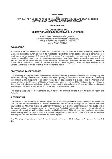 Workshop agenda - Animal Health Development Programme