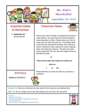 Ms. Kim's Newsletter Classroom News Important Dates to ...