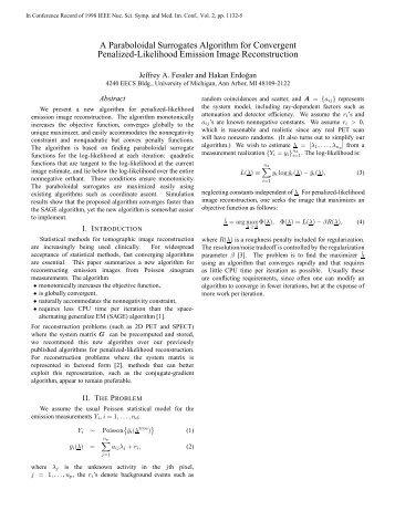 A Paraboloidal Surrogates Algorithm for Convergent ... - CiteSeerX