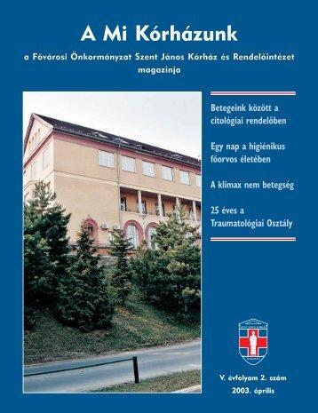 A Mi Kórházunk: 2003. április (V/2) - Szent János Kórház