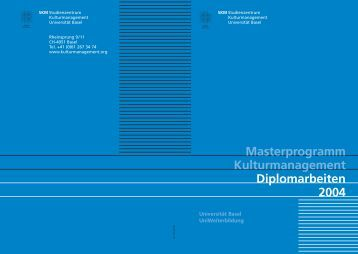 Masterprogramm Kulturmanagement Diplomarbeiten 2004