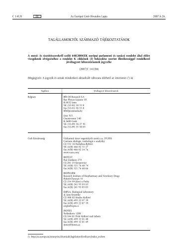 Az Európai Unió hivatalos lapja C Tájékoztatások és ... - EPA