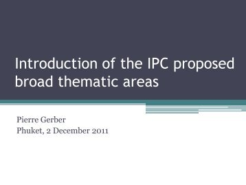 Introduction of the IPC proposed broad thematic areas